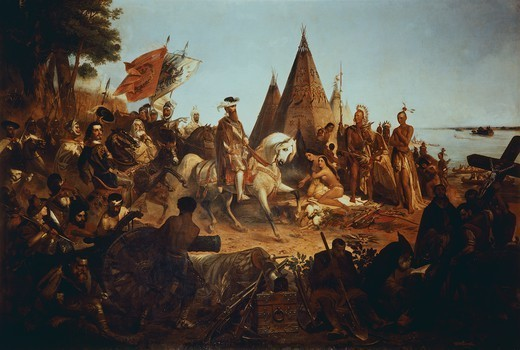 Spanish conqueror Hernando de Soto arriving in Mississippi, painting by William Henry Powell, America 16th Century. : Stock Photo