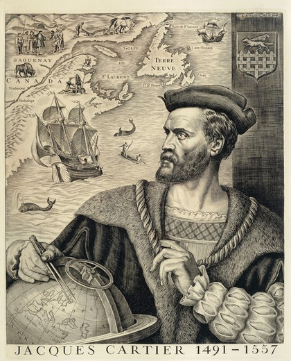 Stock Photo: 1788-31958 Jacques Cartier (Saint-Malo, 1491-1557), French navigator who reached Canada, Newfoundland and Labrador, setting the foundations for French dominion in Canada, engraving by Pierre Gandon.