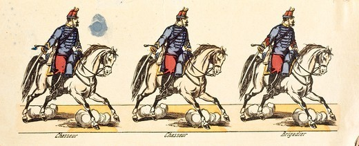 Militaria, 19th century. Light cavalry of the Hunters of Africa. From Epinal soldiers series. : Stock Photo