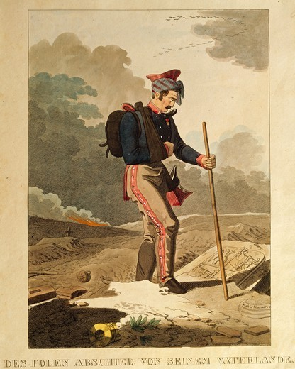 Poland, 19th century. Polish soldier says farewell to his Homeland. Engraving, 1820. : Stock Photo