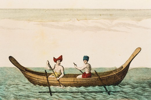 An outrigger, engraving from Water from the Travels by Jean Francois de Galaup comte de Laperouse, 18th Century. : Stock Photo