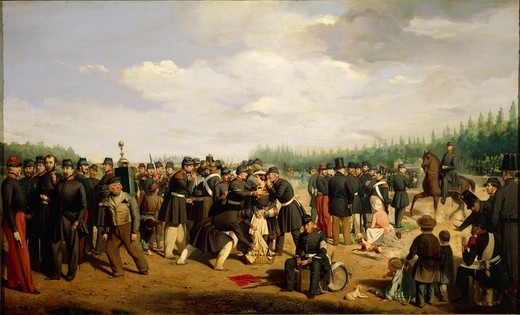 Militaria, France, 19th century. French National Guard, 1849. Painting by Arsene Hurtel. : Stock Photo