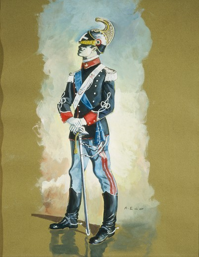 A. Eco, Cavalry Non-commissioned Officer. Watercolor. : Stock Photo