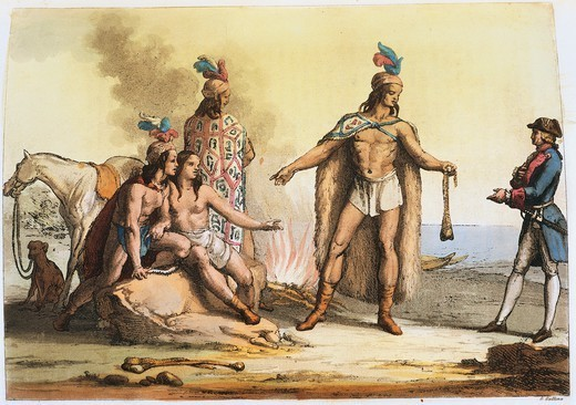 The Patagons (or Tehuelche), 1827, illustration from South America by Giulio Ferraro, Argentina 19th Century. : Stock Photo