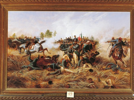 Stock Photo: 1788-32208 Italy - 19th century,  Third War of Independence -The Battle of Custoza, June 24, 1866. Painted by Raffaele Pontremoli (1832 - 1905) 1897. Oil on canvas 136 x 86 cm.