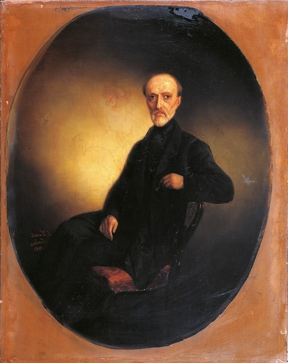 Stock Photo: 1788-32232 Portrait of Giuseppe Mazzini (Genoa 1805 - Pisa 1872), Italian Patriot, Founder of the Giovine Italia Political Movement. Painted by Luigi Zuccoli, 1865. Oil on canvas. 35x45cm.