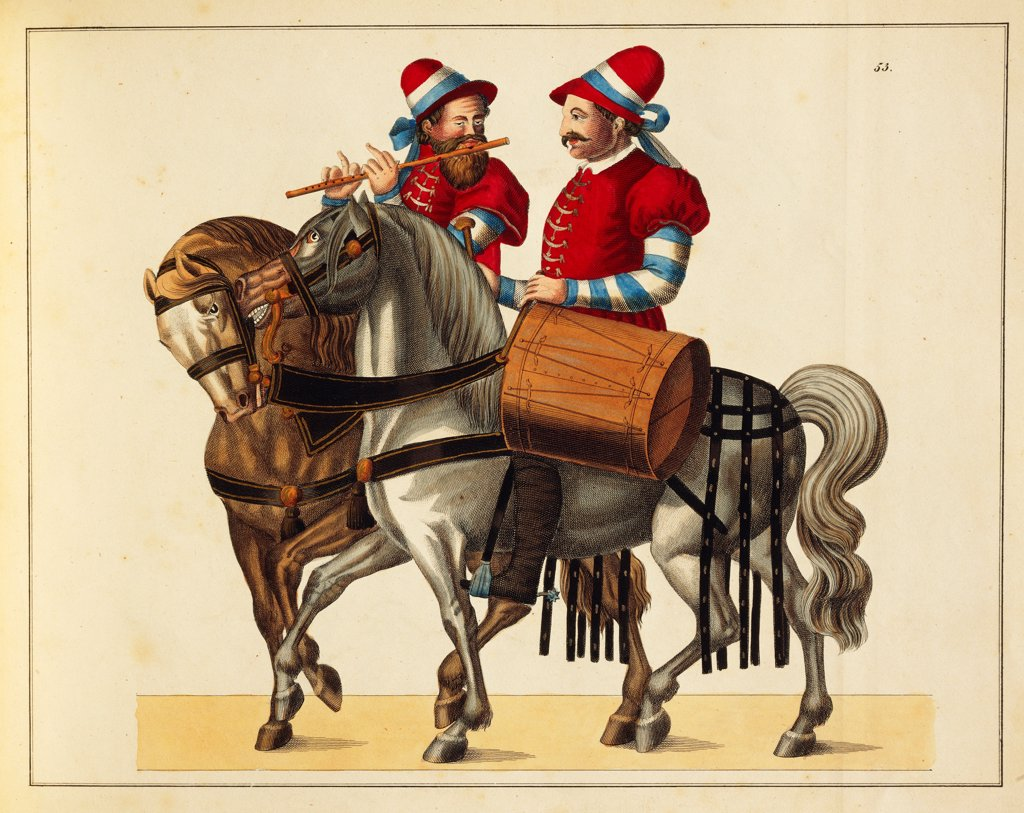 Militaria, Germany, 16th century. Flute player and drummer on horseback with Bavaria colors, in the suite of the cavalrymen during the tournements. Engraving by Franz Rottenkamp, Stuttgart, 1842. : Stock Photo