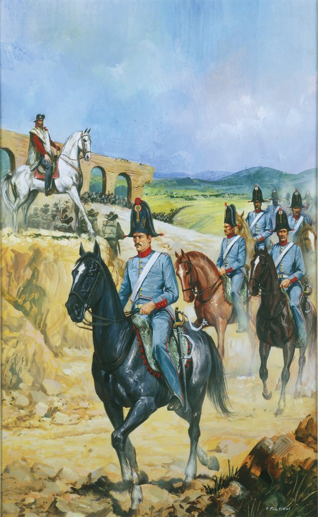 Stock Photo: 1788-32294 Italy, 19th century. Papal tax officers on horseback escorting Garibaldi out of Rome in 1849, after the fall of the Roman Republic. Painted by Franco Picchioni.