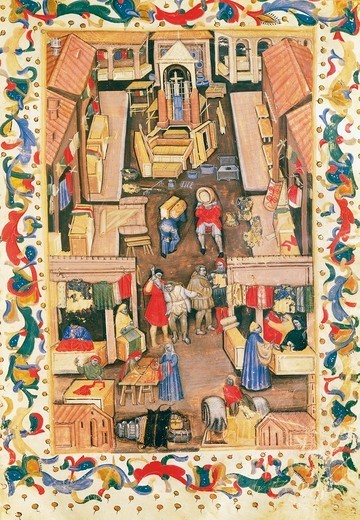 Stock Photo: 1788-32342 Cloth merchant in Piazza Ravagnana, Bologna, miniature from Serial number of the Society of Drapers, manuscript 641 folio 1 recto number 93.