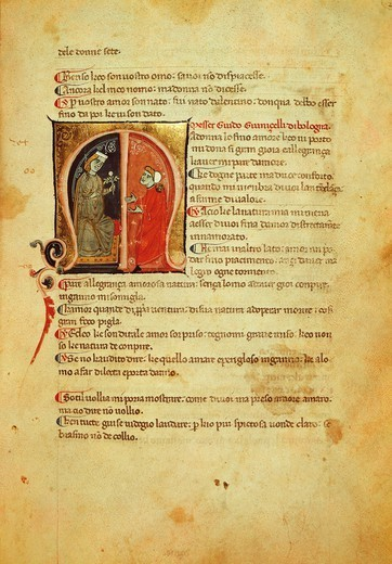 Illuminated page from the Canzone by Guido Guinizzelli, page of the Codex Br 217c Palat 418, Italy 13th Century. : Stock Photo