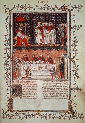 Stock Photo: 1788-32355 John II the Good creating the Order of the Star, miniature from the Great Chronicles of France, manuscript, France 14th Century.