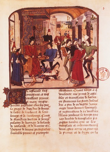 Vasco da Lucerna presenting his history of Alexander to Charles the Bold, miniature by Liedet Loyset (1470), manuscript, France 15th Century. : Stock Photo