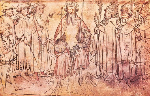 Charles IV of Luxembourg, Emperor of the Holy Roman Empire surrounded by his seven Prince-electors, manuscript, 14th Century. : Stock Photo