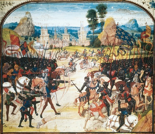 Stock Photo: 1788-32389 The Battle of Poitiers, miniature from a manuscript, France 15th century.