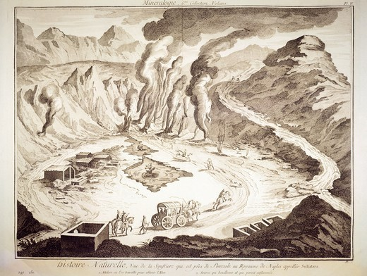 Plate showing Pozzuoli Solfatara, near Naples. Engraving from Denis Diderot, Jean Baptiste Le Rond d'Alembert, L'Encyclopedie, 1751-1757. Entitled Histoire Naturelle, Regne mineral series (Natural History, Mineral Kingdom). : Stock Photo