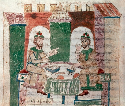 Stock Photo: 1788-32491 The Lord's table, miniature from De universo by Rabano Mauro, manuscript, Italy 11th Century.