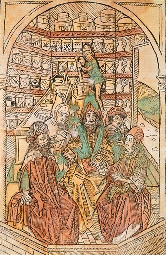 Stock Photo: 1788-32510 A herbalist's shop, miniature from an incunabulum published in Augsburg in 1488, Germany 15th Century.