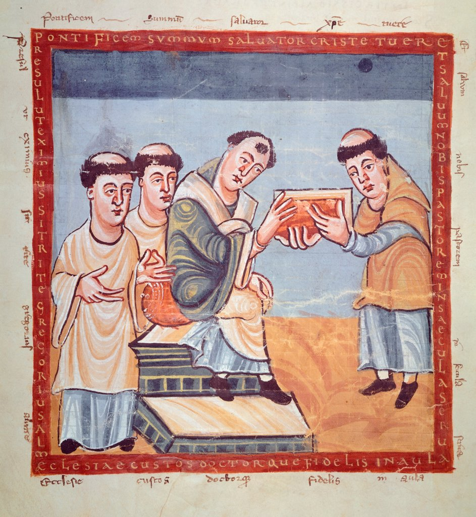 Stock Photo: 1788-32538 Rabano Mauro giving Gregory IV the De laudibus, miniature from a manuscript, 9th Century.