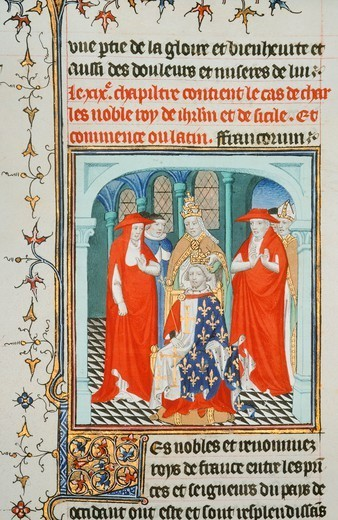 Stock Photo: 1788-32563 Pope Clement IV crowning Charles I of Anjou, miniature from Lives of Illustrious Men, French manuscript 190 folio 175 recto, 15th Century.