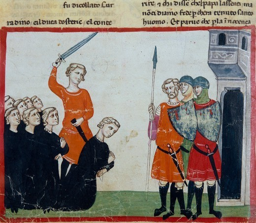 Conradin and his barons are sentenced and executed after the defeat of Tagliacozzo, miniature from the Cronica (Chronicles) by Giovanni Villani, manuscript, Italy 14th Century. : Stock Photo