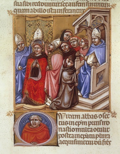 Stock Photo: 1788-32583 An abbot consecrated by a bishop, miniature from Concordantia discordantium acanonum, an acanonum, Italy 14th Century.