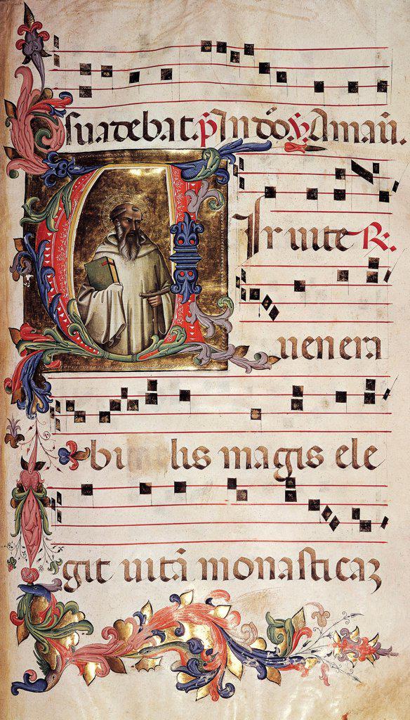 Stock Photo: 1788-32638 Miniature, by Lorenzo Monaco, Choir of Saint Romuald, Italy 15th Century.