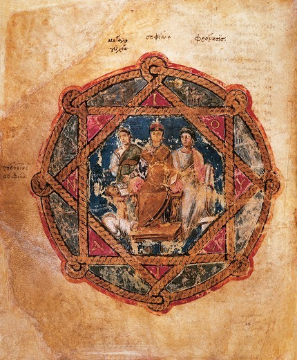 Stock Photo: 1788-32683 Anicia Juliana, miniature from De materia medica (On Medical Matters), Greek manuscript (parchment), 6th Century.