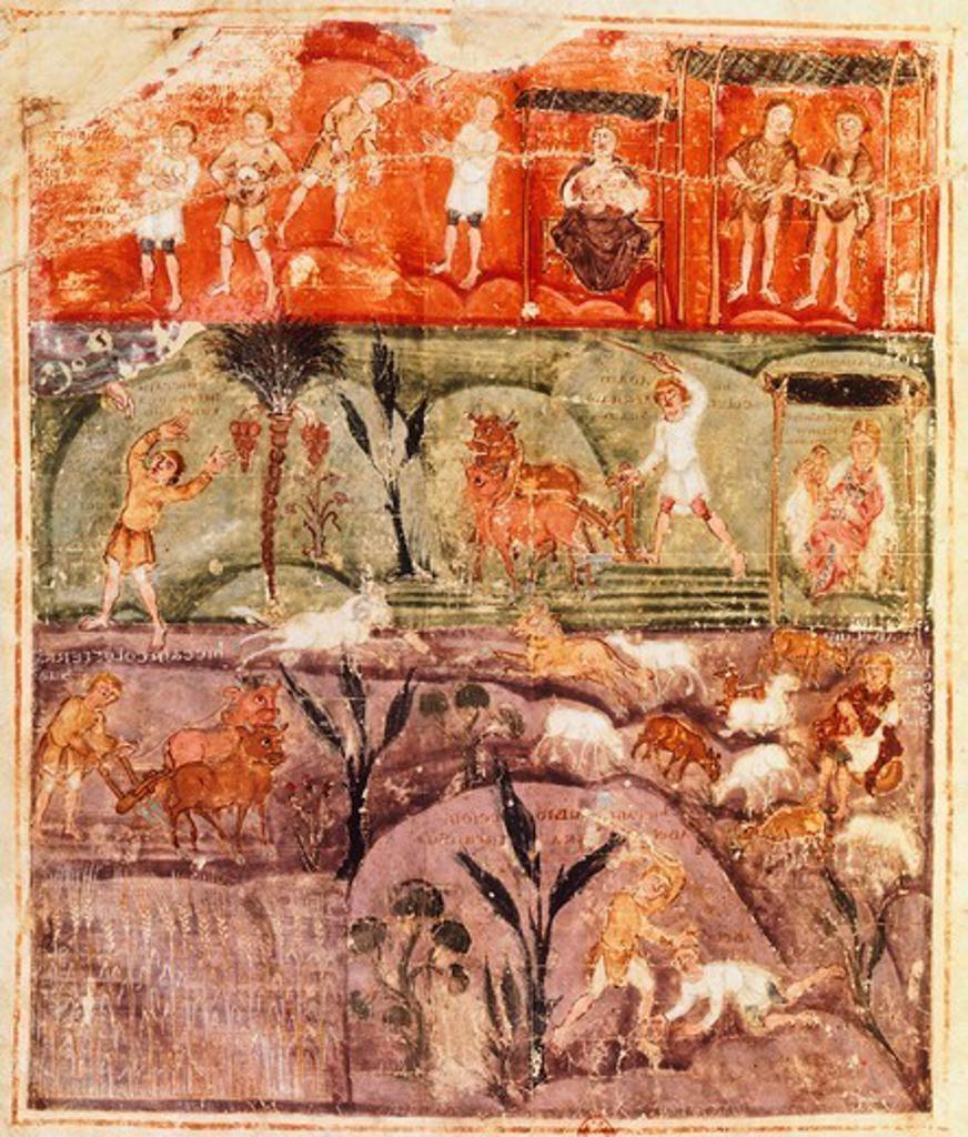 Story of Adam, miniature from the Pentateuch (Torah), 7th Century. : Stock Photo
