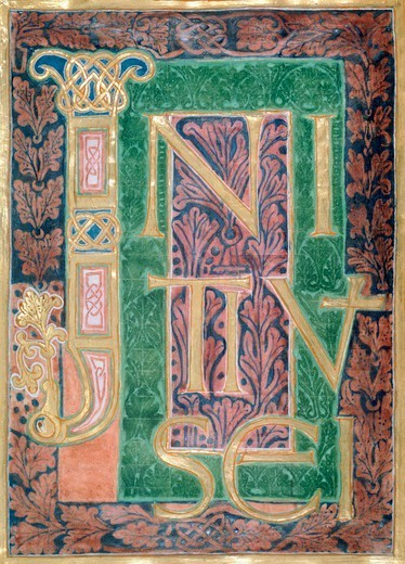 Miniature from the Wernigerode Gospels, 10th Century. : Stock Photo