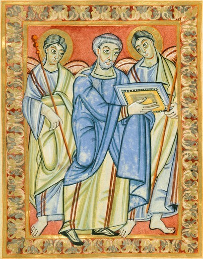 Stock Photo: 1788-32712 Miniature from the Poussay Gospels, manuscript 10th Century.