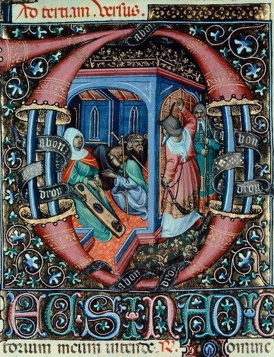 Miniature from the Book of Hours Visconti or Offizolo Visconti, 14th-15th Century. : Stock Photo