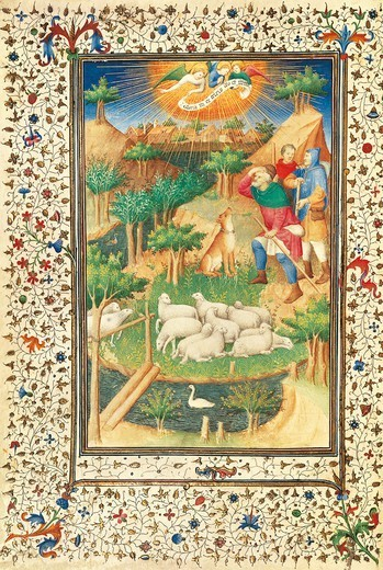 The announcement to the shepherds, miniature by the Master of Boucicaut (Meister des Marechal de Boucicaut), manuscript, France 15th Century. : Stock Photo