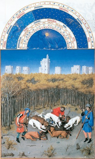 The month of December, miniature from The Very Rich Hours of the Duke of Berry, France 15th Century. : Stock Photo