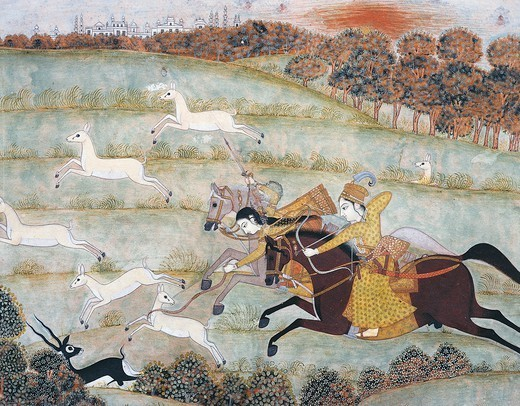 Stock Photo: 1788-32732 Hunting scene, miniature from Mughal School, India 18th Century.