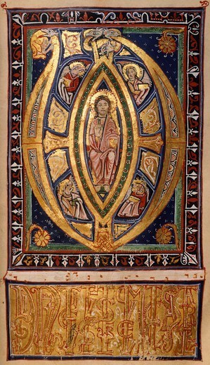 Stock Photo: 1788-32743 Miniature from a missal, 12th Century.