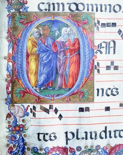 Stock Photo: 1788-32749 Initial capital letter O with Jesus among the false prophets, miniature by Liberale of Verona, from a gradual, 15th Century.