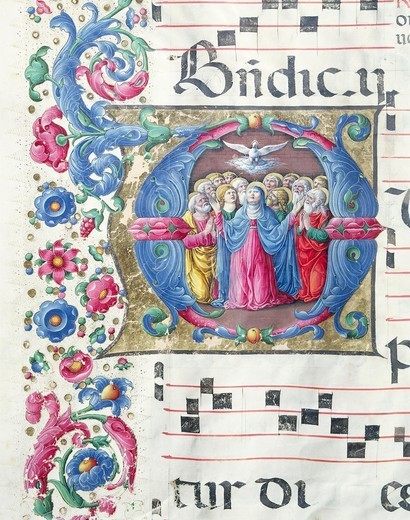 Stock Photo: 1788-32757 Illuminated initial capital letter depicting the Pentecost, by Girolamo of Cremona, from a medieval manuscript, Italy 15th Century.