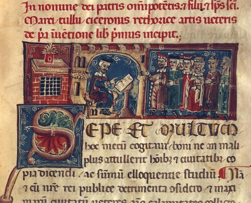 Stock Photo: 1788-32760 School, miniature from the Latin Manuscript De Inventione (or De Arte Veteri), 13th Century.