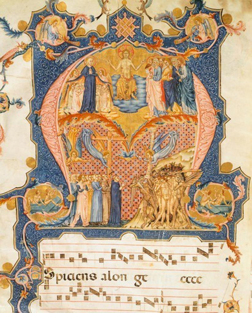 The Universal Judgement, miniature, 16th Century. : Stock Photo