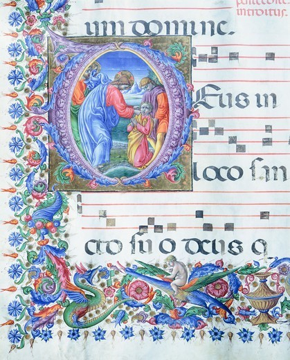 Stock Photo: 1788-32779 Jesus healing the man who was deaf and dumb, miniature by Liberale of Verona from a gradual, Italy 15th Century.