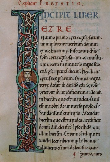Stock Photo: 1788-32780 Illuminated letter, the Latin Bible, from the Abbey of Monteiramey, manuscript, 12th Century.