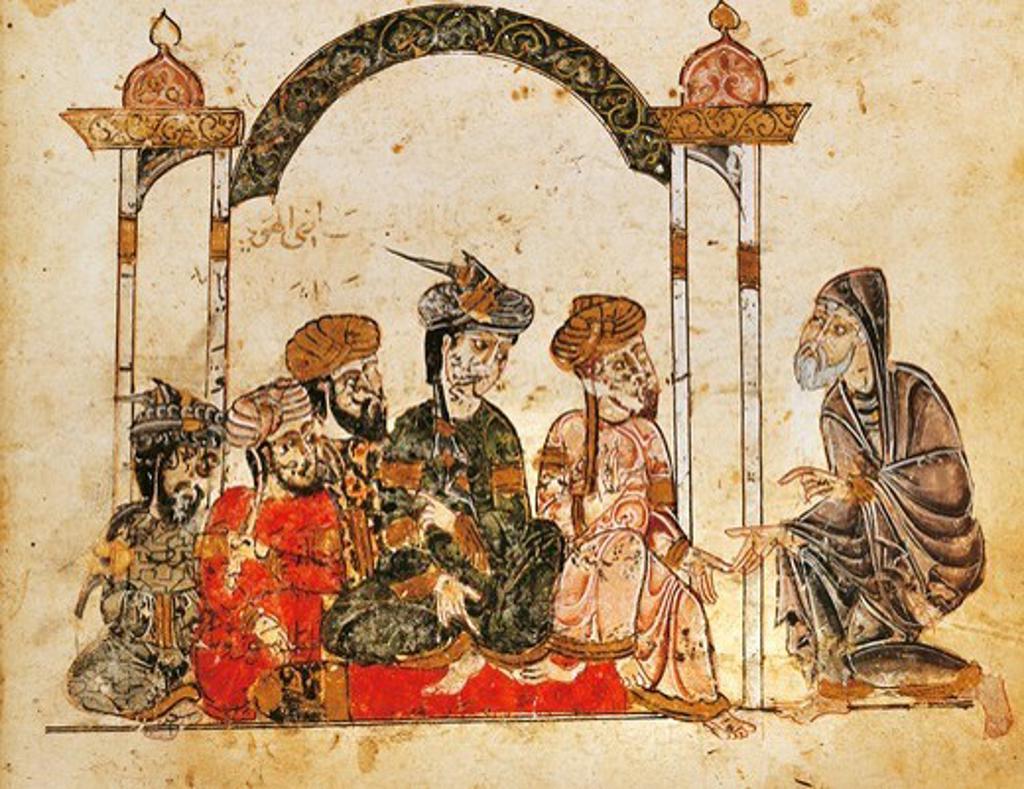 Stock Photo: 1788-32801 Nasr Hamid Abu Zayd in Najra addressing a meeting, miniature from The science of al-Hariri, Arabic manuscript, 13th Century.