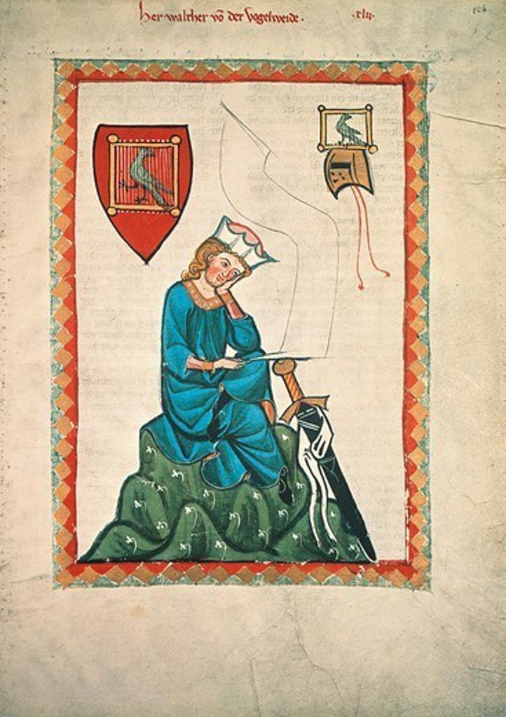 Walther von der Vogelweide, miniature from the Codex Manesse, Germany 14th Century. : Stock Photo