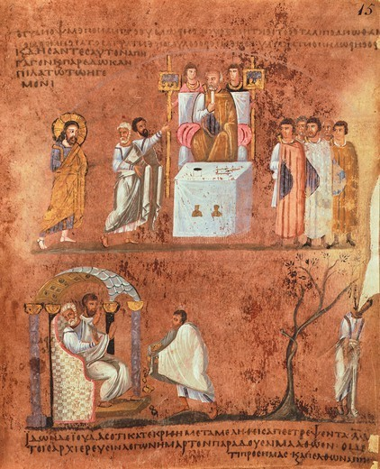Stock Photo: 1788-32835 Jesus before Pilate and the repentance of Judah, miniature from the Gospels called Rossanensis (Purpureus Code from Rossano Calabro), byzantine manuscript, 6th Century.