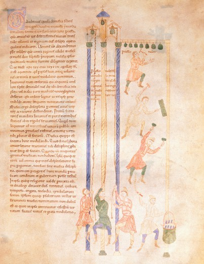 Stock Photo: 1788-32841 Musical instruments, miniature, Italy 12th Century.