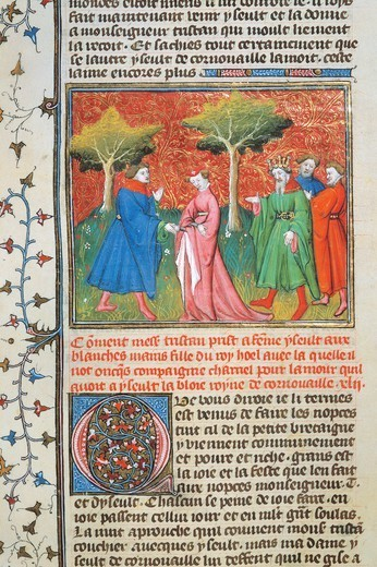 Marriage scene from the Romance of the Round Table, manuscript 2537 folio 71 recto, France 14th Century. : Stock Photo