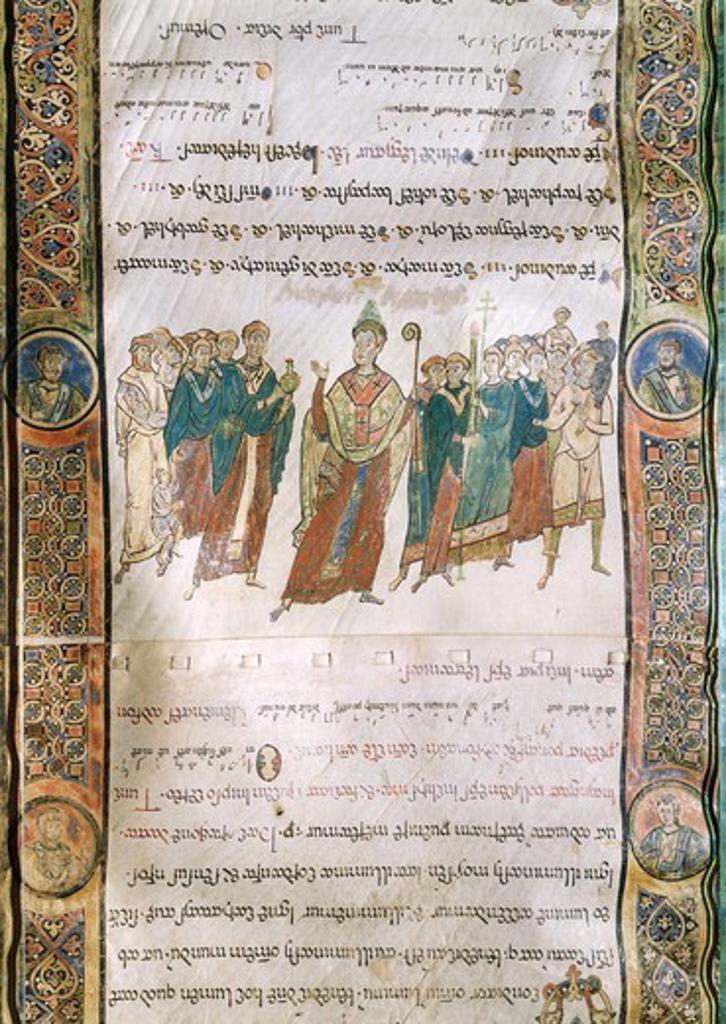 Miniature from the Four Gospels, Greek manuscript, 12th Century. : Stock Photo