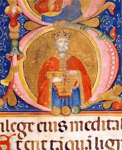 King David performs on the lyre, miniature from manuscript, Italy 16th Century. : Stock Photo