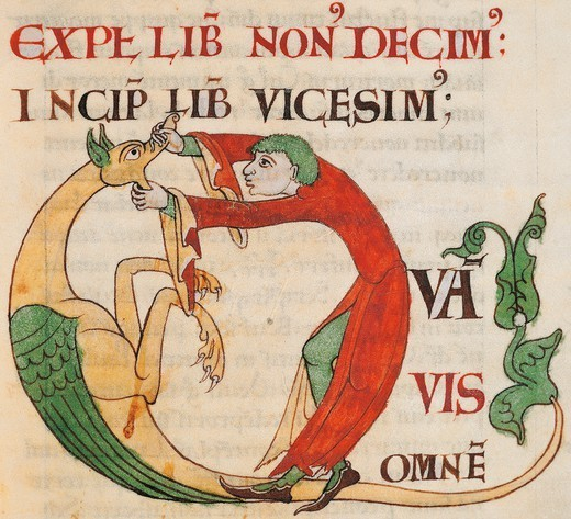 Initial capital letter Q depicting a man opening a monster's mouth, miniature from the Morals on the Book of Job (Moralia in Job) by Saint Gregory the Great, manuscript 173 folio 29 r, Citeaux, France 12th Century. : Stock Photo