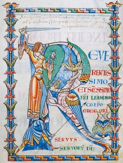 Stock Photo: 1788-32977 Initial capital letter R depicting two men fighting a dragon with a sword and a lance, miniature from the Morals on the Book of Job (Moralia in Job) by Saint Gregory the Great, manuscript 168 folio 4 verso, Citeaux, France 12th Century.